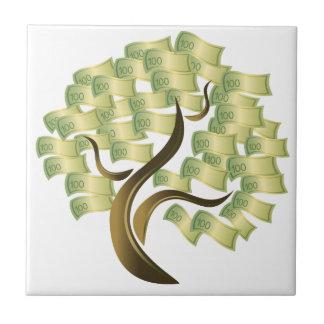Árbol del dinero azulejo cuadrado pequeño