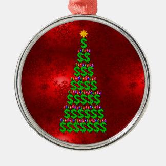 Árbol del dinero del navidad adorno navideño redondo de metal