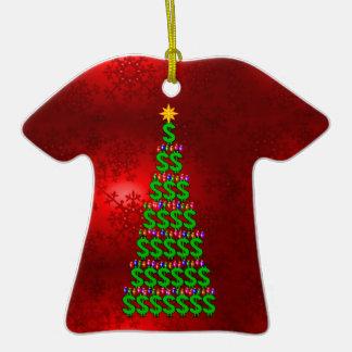 Árbol del dinero del navidad adorno de cerámica en forma de playera