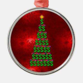 Árbol del dinero del navidad adorno redondo plateado