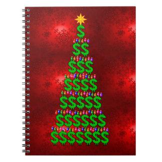 Árbol del dinero del navidad cuaderno