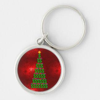 Árbol del dinero del navidad llavero redondo plateado