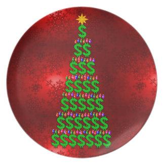 Árbol del dinero del navidad plato para fiesta