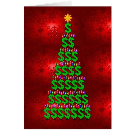 Árbol del dinero del navidad tarjeta pequeña