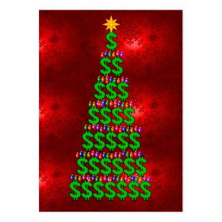 Árbol del dinero del navidad tarjetas de visita grandes