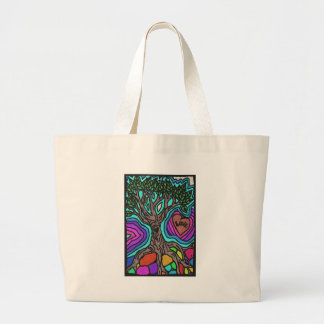 Árbol del doodle del amor bolsa tela grande