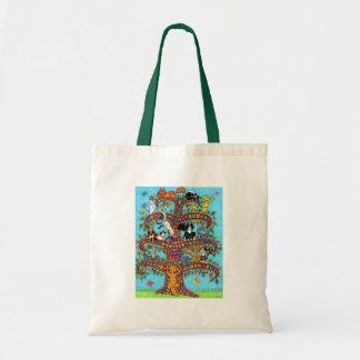 Árbol del gato de la vida 2 bolsa tela barata