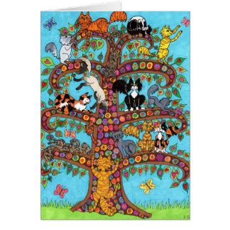 Árbol del gato de la vida 2 tarjeta de felicitación