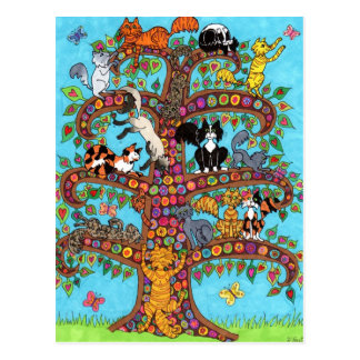 Árbol del gato de la vida 2 postal