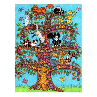 Árbol del gato de la vida 2 tarjetas postales