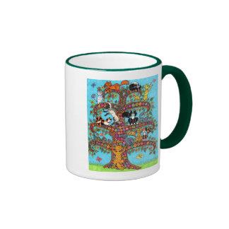 Árbol del gato de la vida 2 taza a dos colores