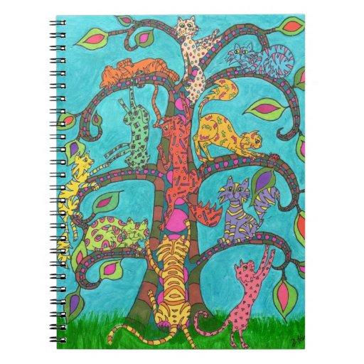 Árbol del gato de la vida libretas espirales