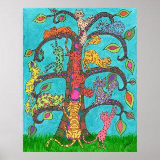 Árbol del gato de la vida posters