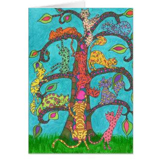 Árbol del gato de la vida tarjeta de felicitación