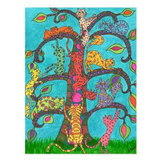 Árbol del gato de la vida postal