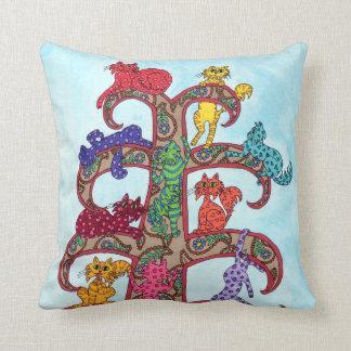 Árbol del gato de Paisley de la vida Cojín Decorativo
