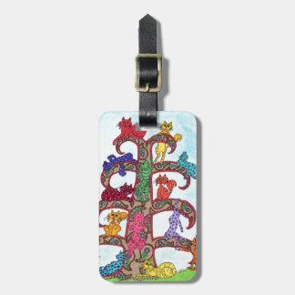 Árbol del gato de Paisley de la vida Etiquetas Maletas