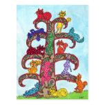 Árbol del gato de Paisley de la vida Postales