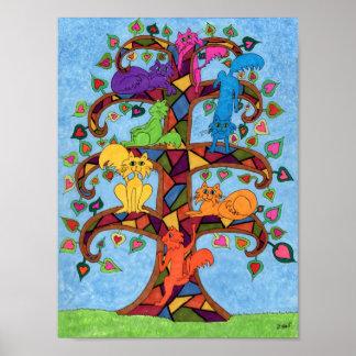 Árbol del gato del mosaico de la vida poster