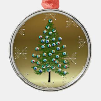 Árbol del globo del ojo adorno navideño redondo de metal