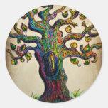 Árbol del Hippie Pegatina Redonda