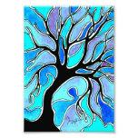 Árbol del invierno en azul arte fotografico