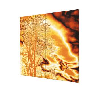 Árbol del invierno en oro fundido en la impresión  impresión de lienzo