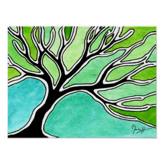 Árbol del invierno en tonos verdes impresiones