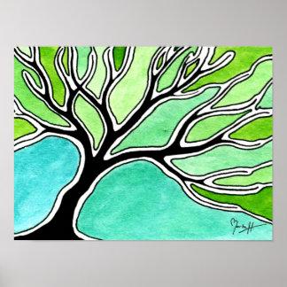 Árbol del invierno en tonos verdes póster