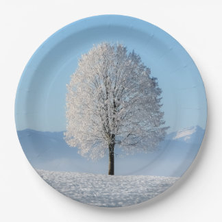 Árbol del invierno plato de papel de 9 pulgadas