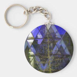 Árbol del invierno, reflexiones del diamante (azul llavero redondo tipo pin