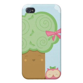 Árbol del kawaii y caso lindos elegantes del iphon iPhone 4 funda