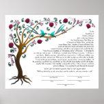 Árbol del ketubah de la vida con una cita hebrea posters