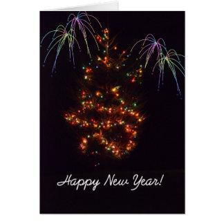 Árbol del Lit de la Feliz Año Nuevo Tarjeta De Felicitación