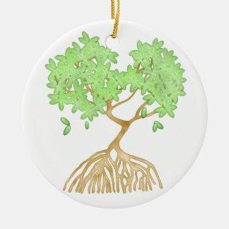 Árbol del mangle adorno navideño redondo de cerámica