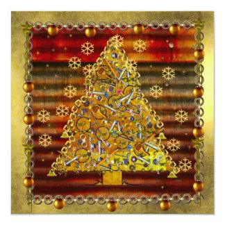 """Árbol del metal del navidad invitación 5.25"""" x 5.25"""""""