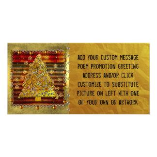 Árbol del metal del navidad tarjeta personal con foto