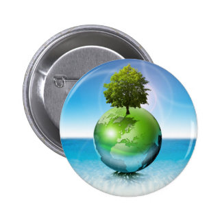 Árbol del mundo - concepto de la ecología pin redondo de 2 pulgadas