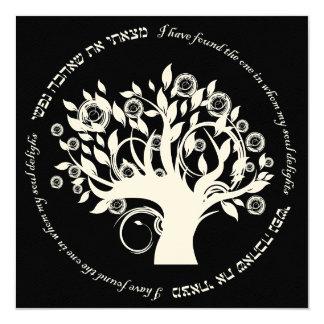 Árbol del negro hebreo del boda judío de la vida anuncio