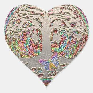 Árbol del oro con Butterly Pegatina En Forma De Corazón