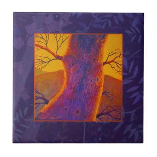 Árbol del otoño azulejo cuadrado pequeño