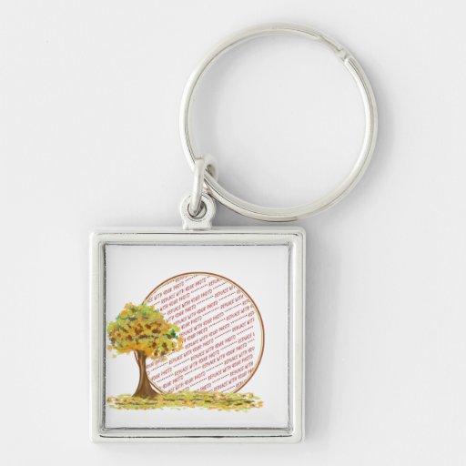 Árbol del otoño con el marco de la foto de las hoj llavero personalizado