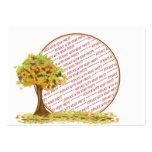 Árbol del otoño con el marco de la foto de las hoj tarjetas de visita