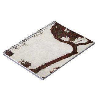Árbol del otoño de Egon Schiele- con los fucsias Notebook