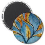 Árbol del otoño en azul imanes de nevera
