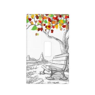 Árbol del otoño, hojas que caen placa para interruptor