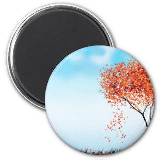 Árbol del otoño imán redondo 5 cm