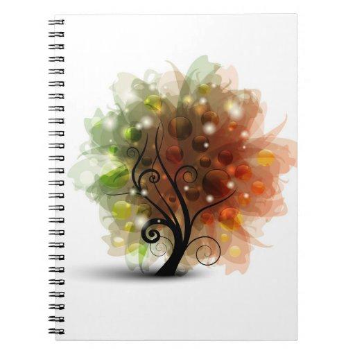 Árbol del otoño libros de apuntes con espiral