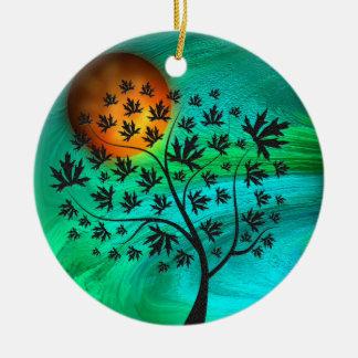 Árbol del otoño y luna de cosecha adorno navideño redondo de cerámica