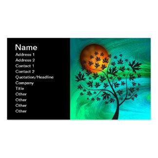 Árbol del otoño y luna de cosecha tarjetas de visita